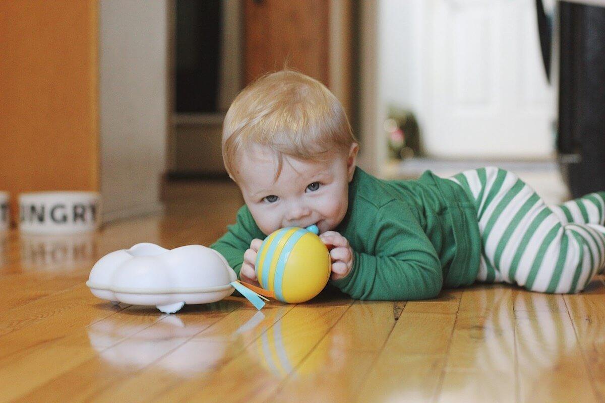 Ben playing in kitchen